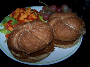 recipe plated with rolls